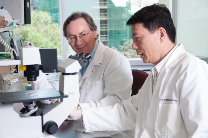 Drs Prudhomme and Wang in their laboratory