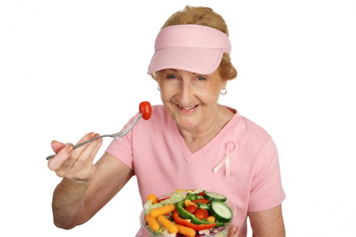 Breast cancer patient with healthy food.