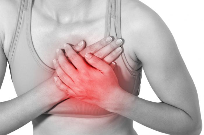 A woman with heart pain