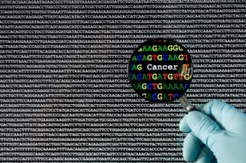 magnifying the word cancer in genetic code