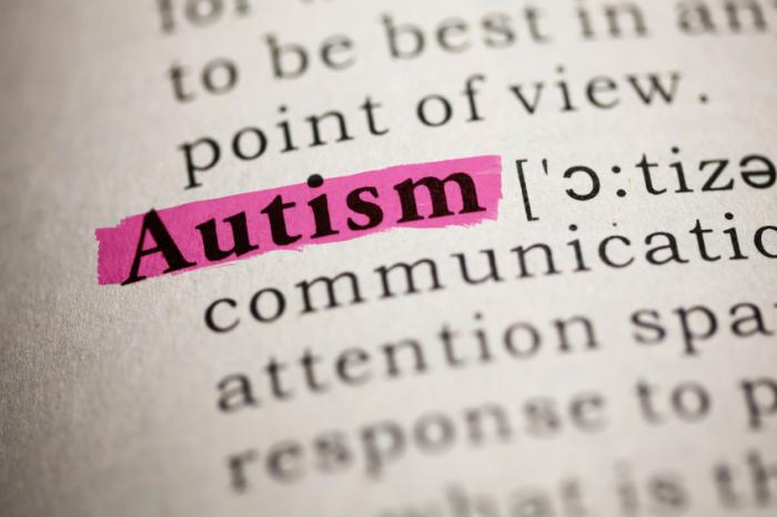 the word autism highlighted as an entry in the dictionary