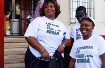 Liberians sporting Free from Ebola T-shirts