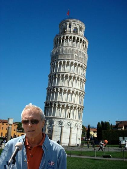 Clint Eastwood and Leaning Tower of Pisa