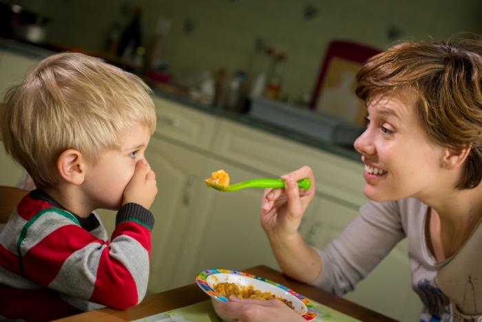 A child refuses to eat food from his mother.