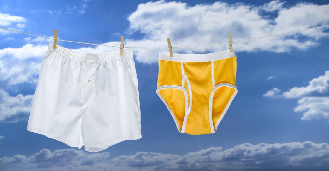 boxers hanging on the line next to y-fronts