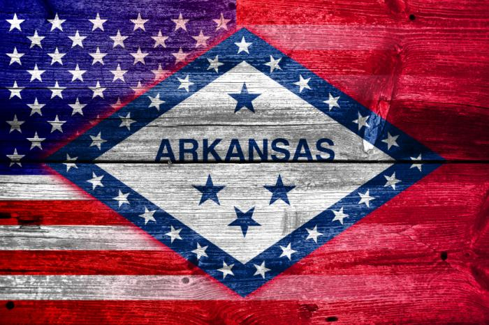 USA and Arkansas flags combined into one.