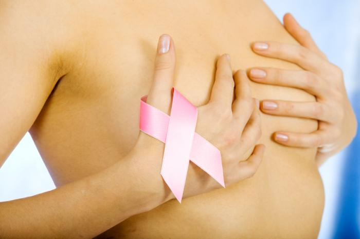 [A woman covering her breasts while holding pink ribbon]
