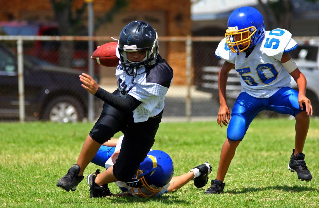 Children playing American football
