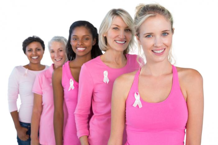 women in pink wearing breast cancer ribbon