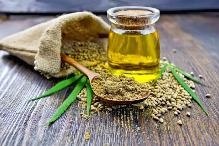Hemp leaves, powder, seeds and oil.