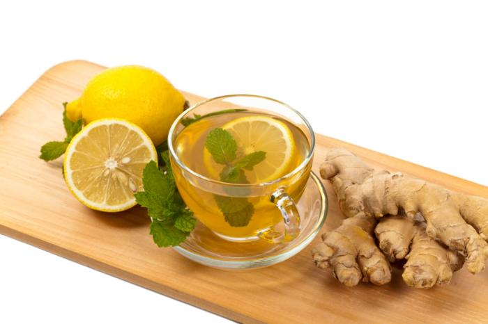 Ginger tea with lemon and mint.