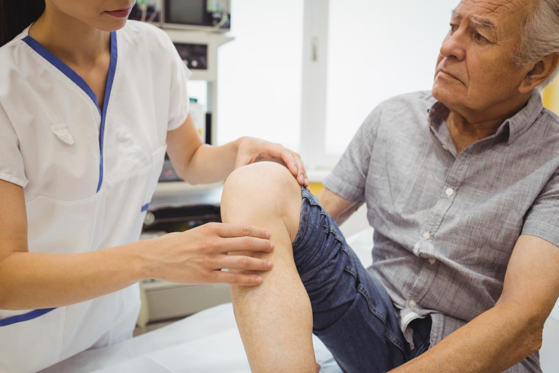 a doctor advises about knee surgery
