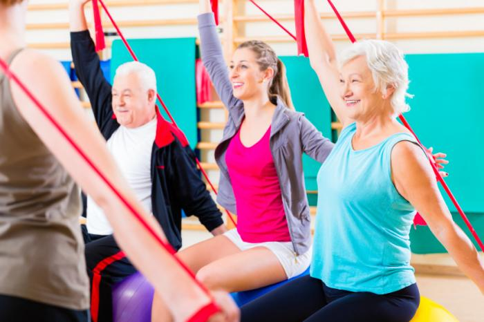 seniors and younger adults in exercise class