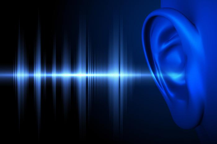 [Blue ear with sound wave illustration]