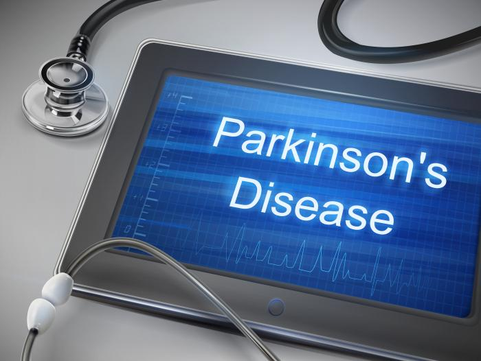 Parkinson's disease words on a doctor's tablet