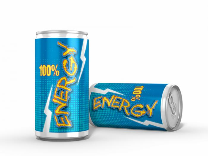 [two blue energy drink cans]