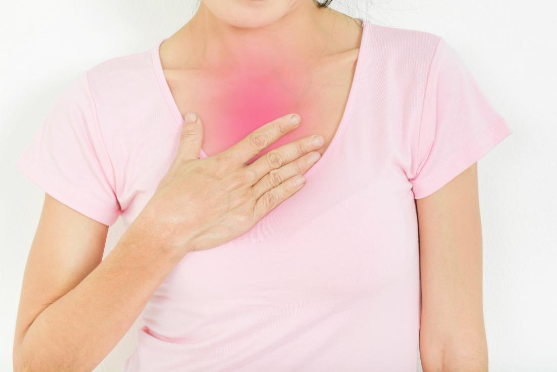 Lady holding chest due to acid reflux