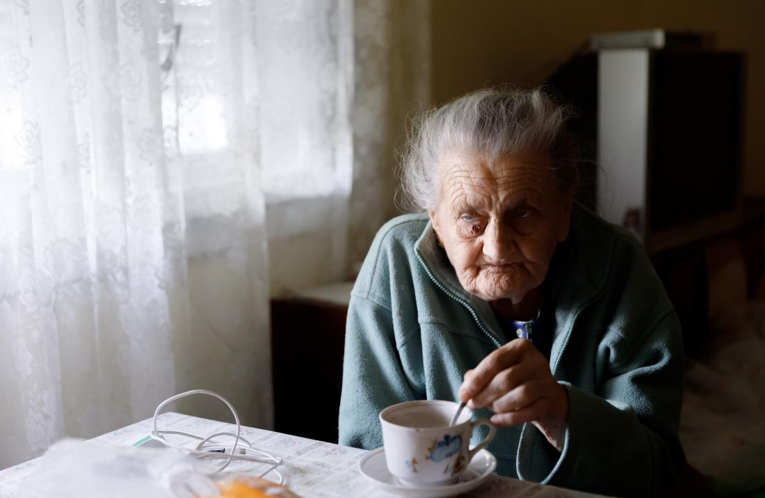 Isolated older lady