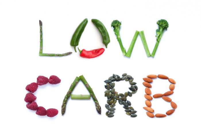 [vegetables spelling out low carb]