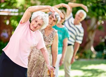 [Older adults exercising]