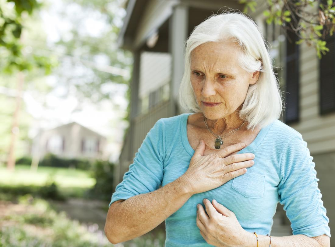 a senior woman with breathlessness because of COPD