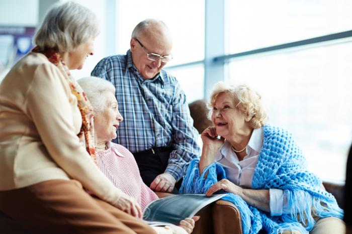 older people chatting