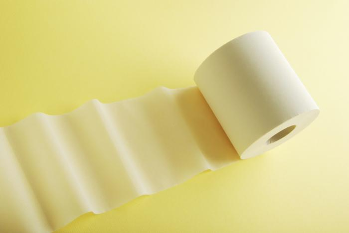 [toilet paper roll on a yellow background]