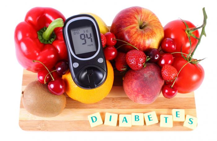 [fruit with a glucose meter and diabetes]