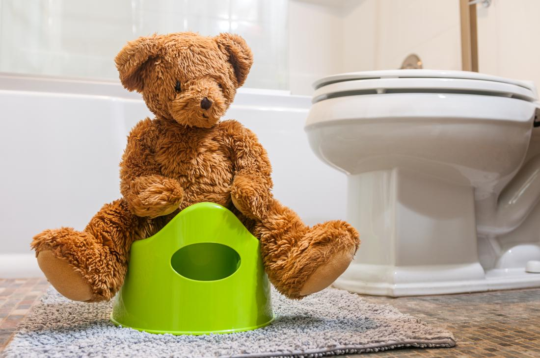 Teddy bear sitting on a potty in bathroom.