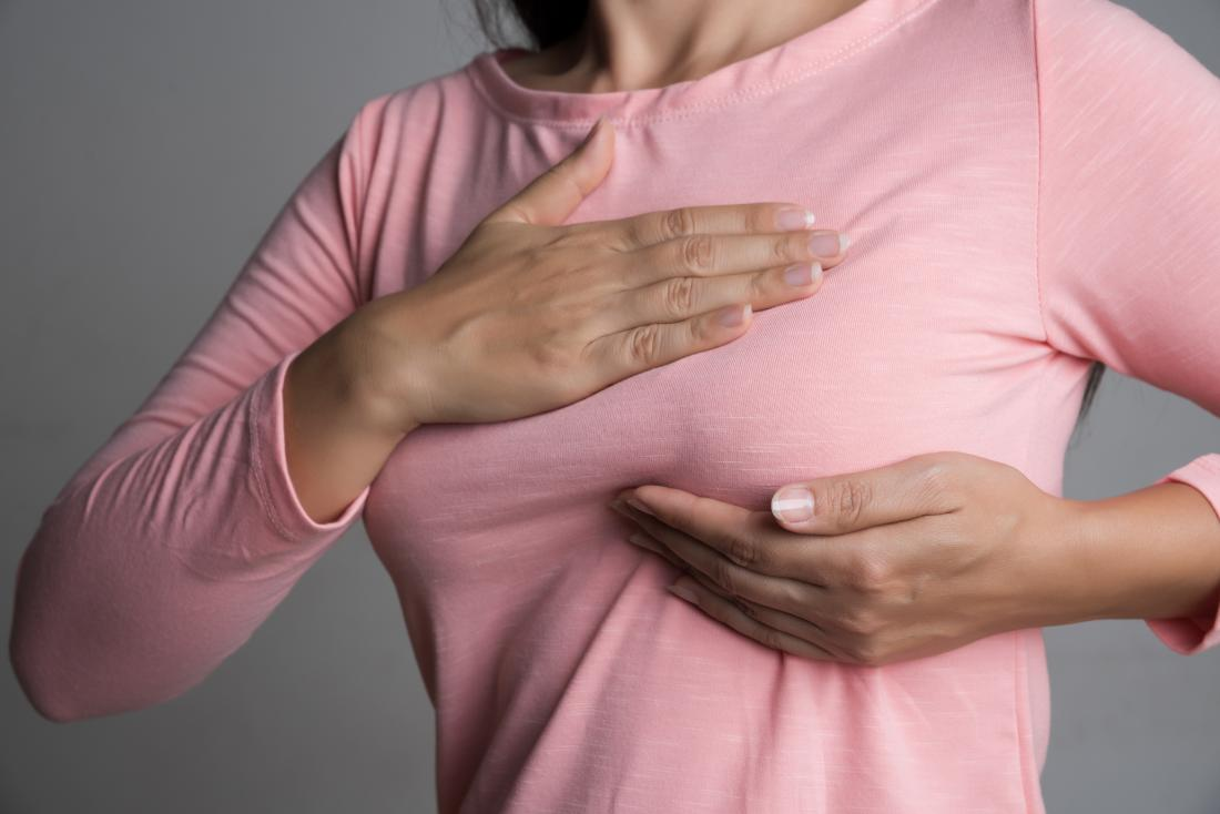 woman checking her breast for early signs of cancer