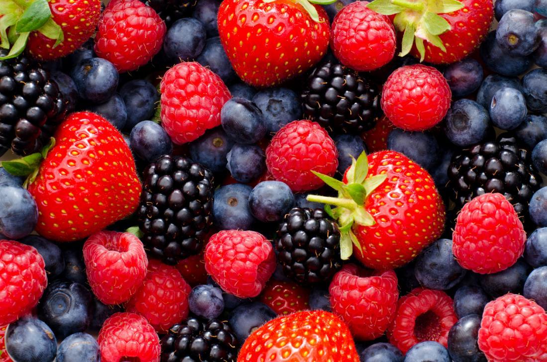 [strawberries blueberries blackberries raspberries]