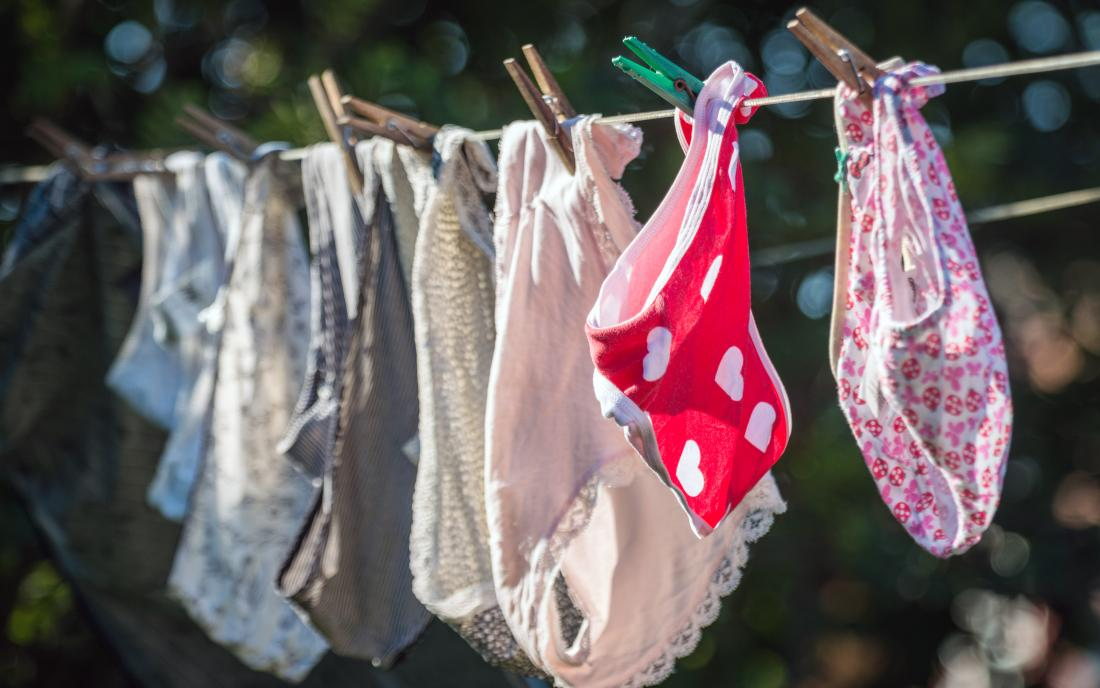 a bunch of panties hanging on a clothesline that may have stank from vaginal oders.