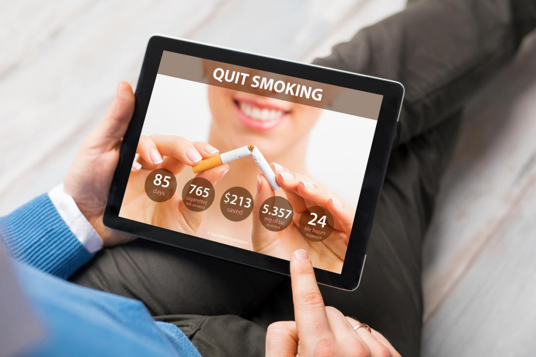 [quit smoking app on tablet]