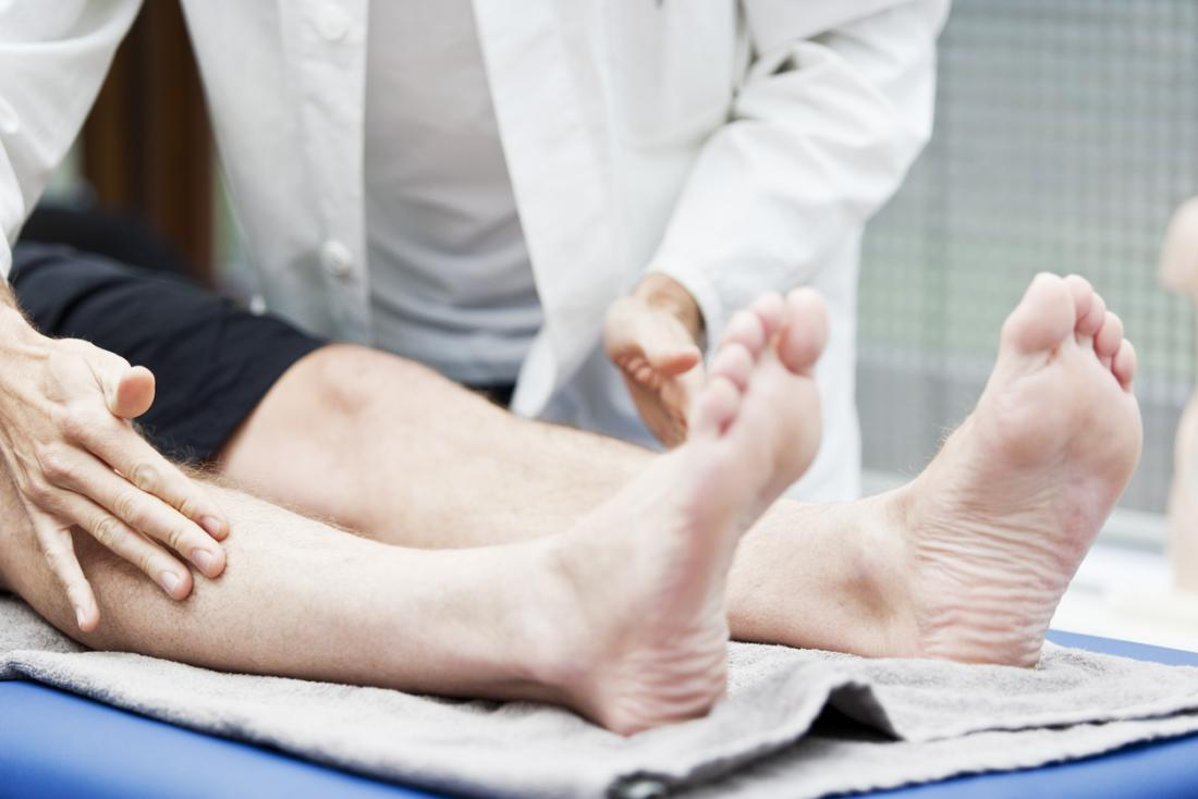 patient getting checked for diabetic neuropathy