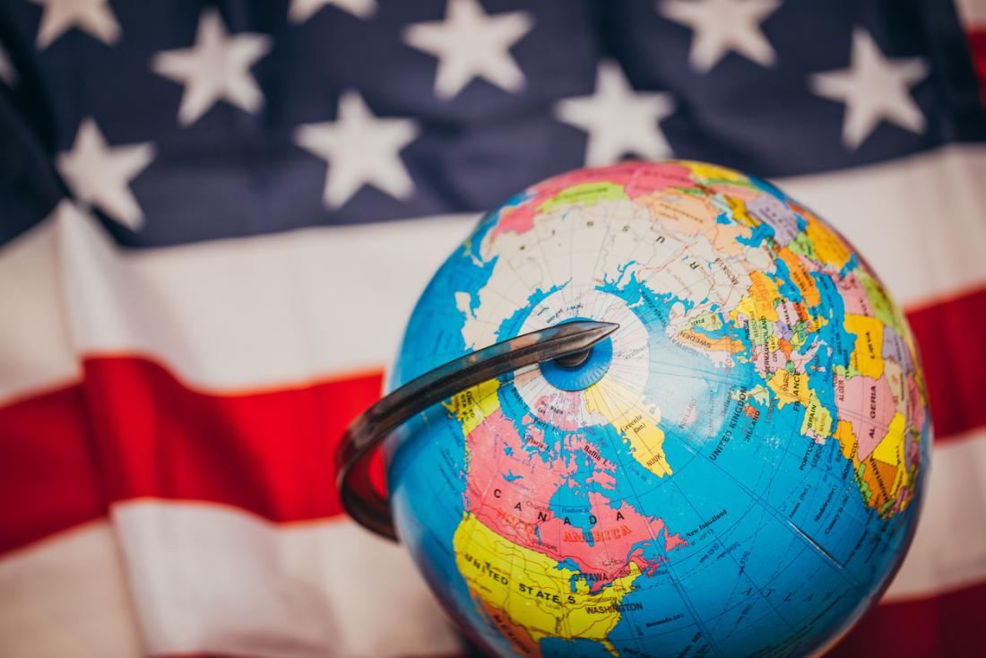 US flag with globe