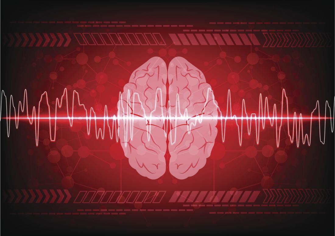 illustration of a brain and brain waves