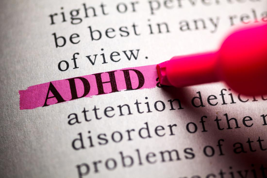 wORD ADHD being highlighted.