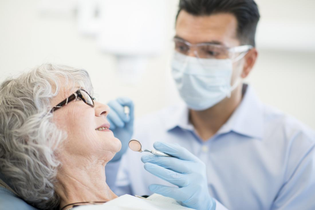 older woman at the dentist