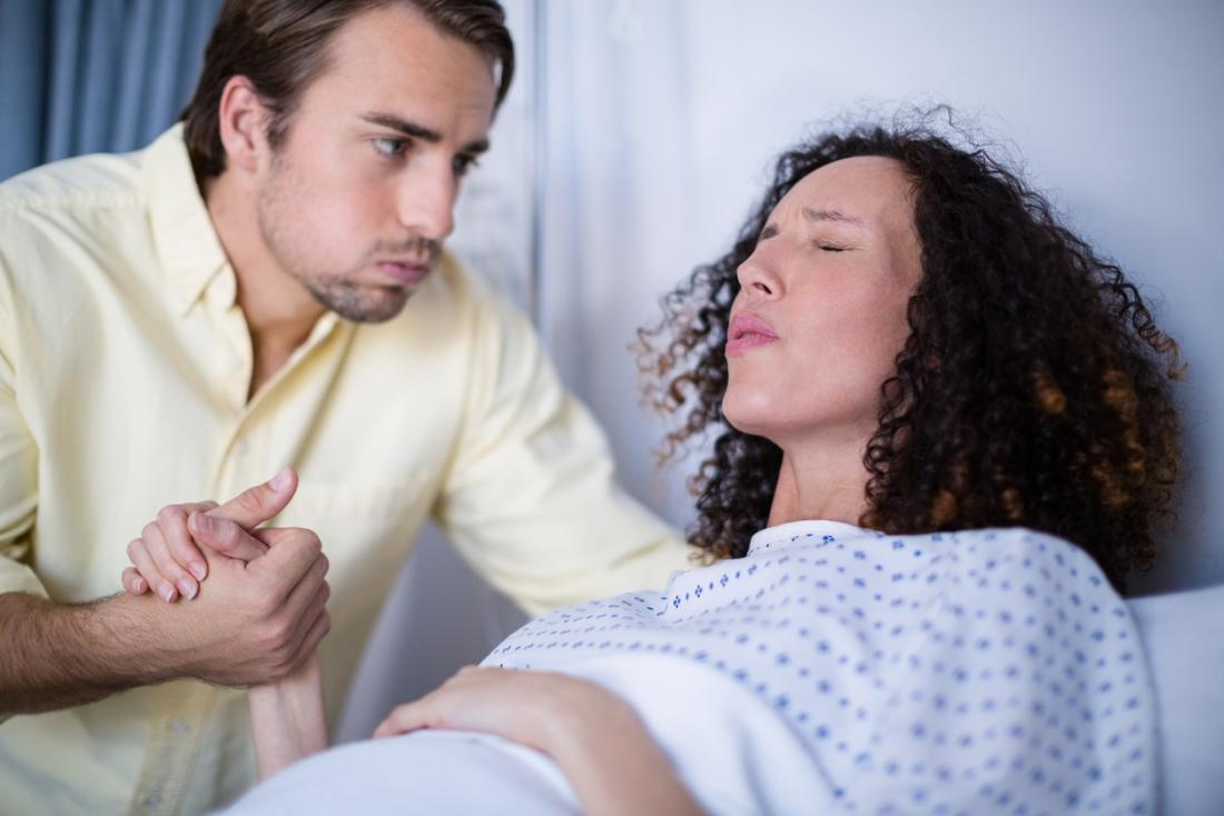 woman in labor holding partner's hand