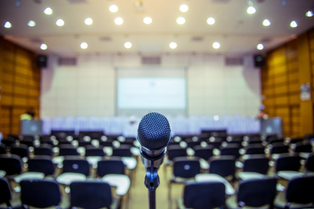 Microphone in conference room for speaking in public.