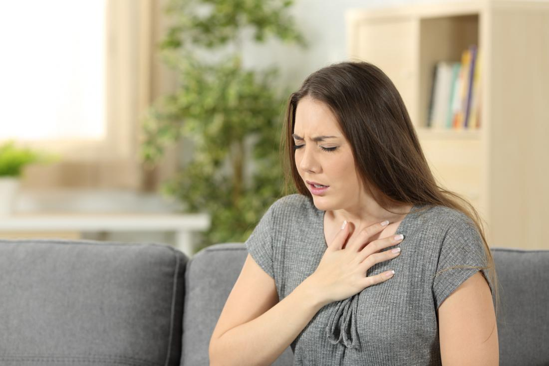 Lady struggling with breath