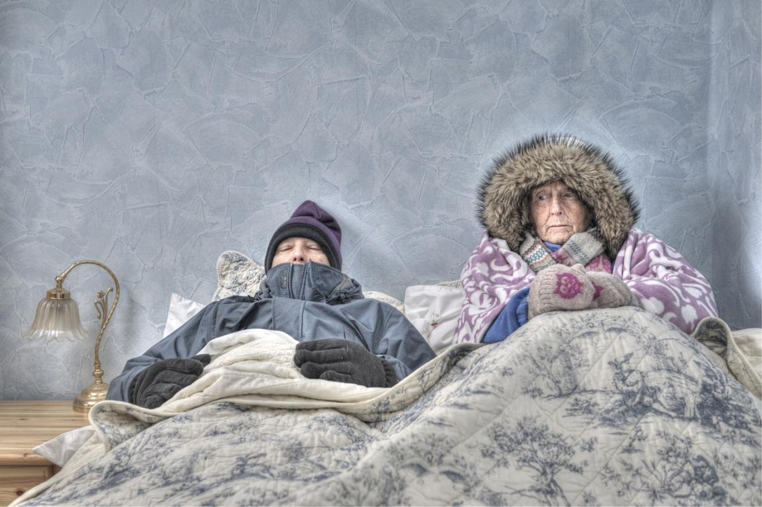 Older adults cold in bed