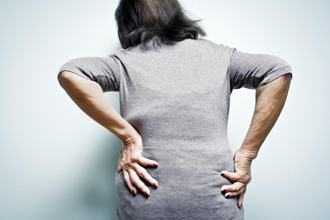 Arthritis pain in the lower back, or lumbar region.