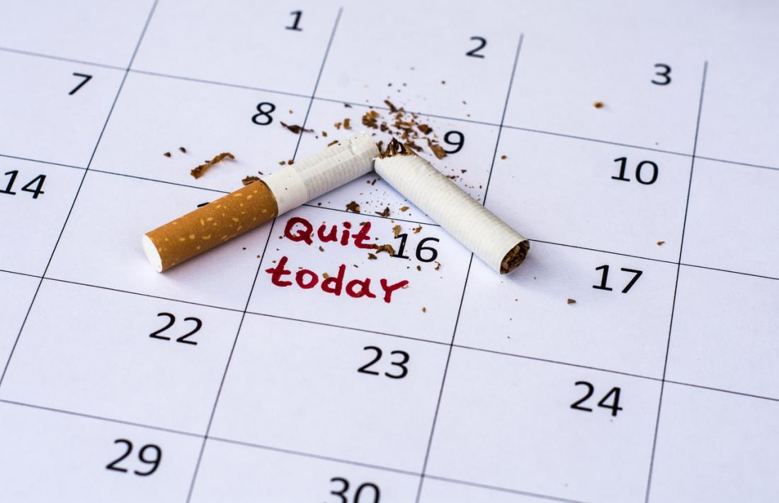 broken cigarette on a calendar