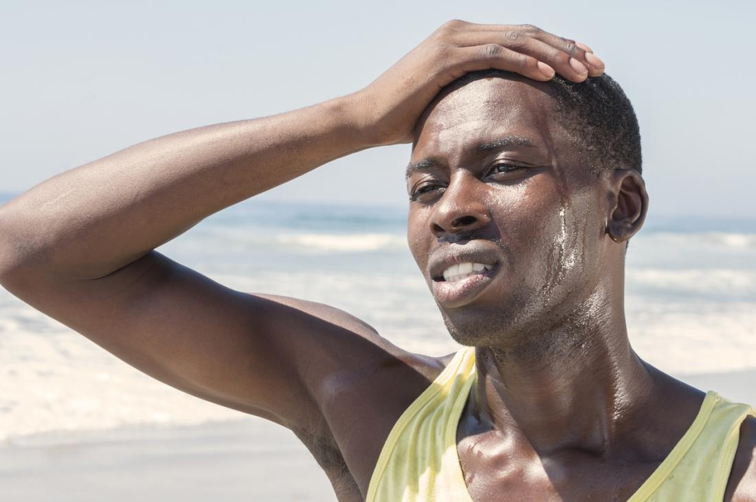 man sweating after exercise