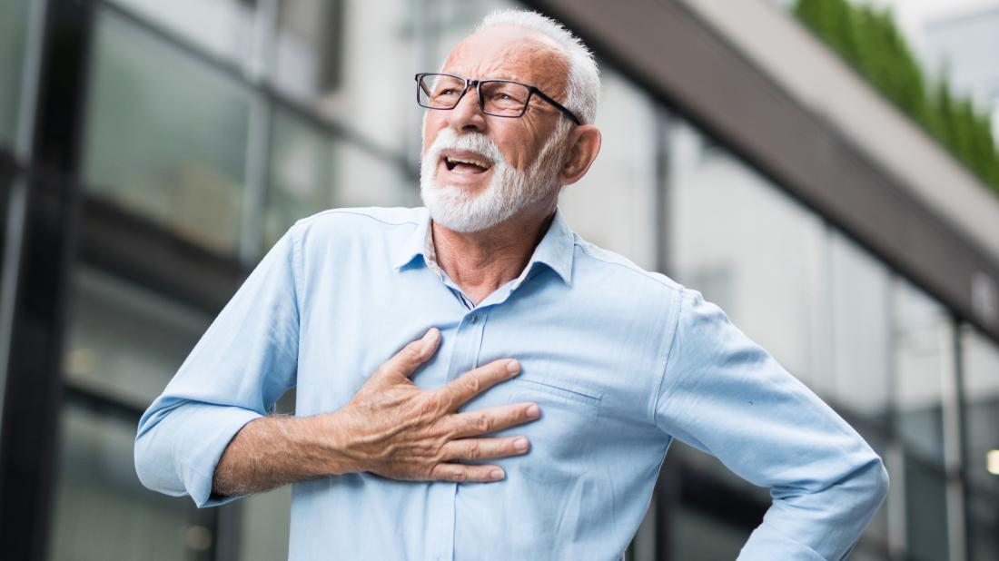 a senior man experiencing shortness of breath due to nonvalvular atrial fibrillation