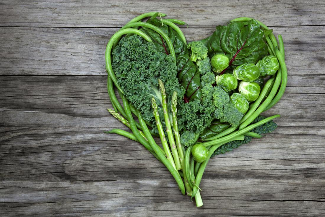 leafy greens in the shape of a heart