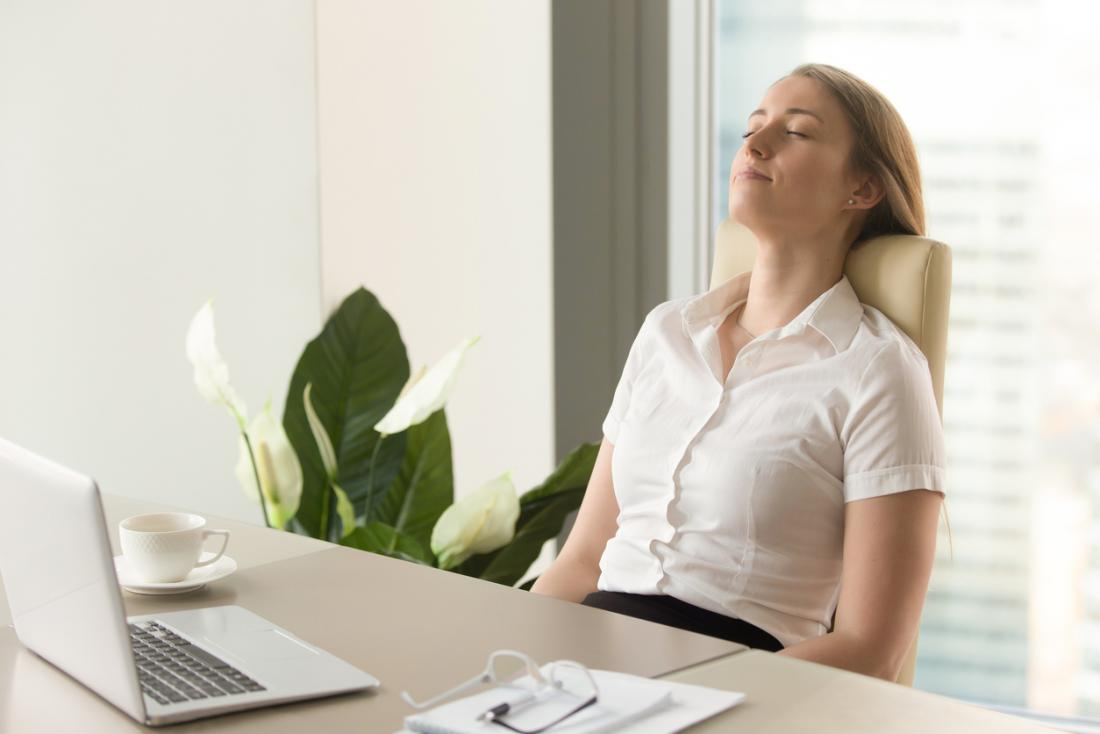 taking five minutes to deep breathe at work