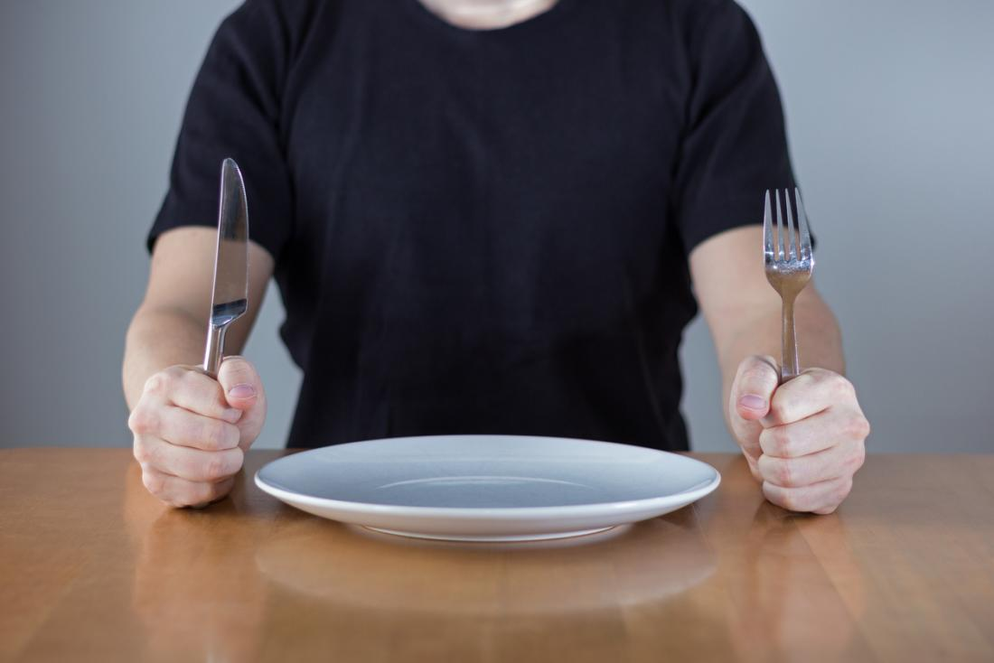 Man with an empty plate and cutlery
