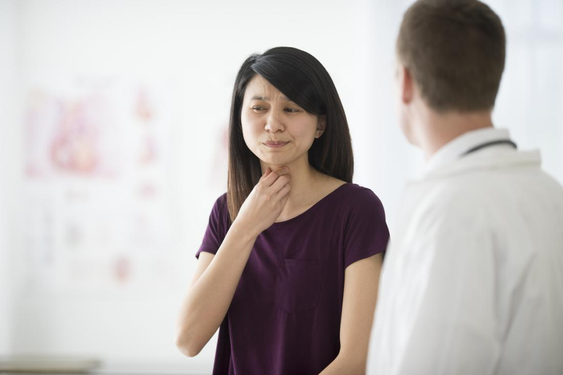 Lady with a sore throat in the doctors surgery